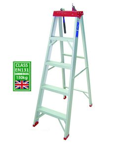 Everlas Commercial 150kg EN131 Certified aluminium step ladder with built-in tool tray in Malaysia