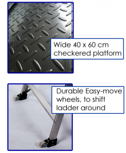 Platfrom Ladder Trolley with Wheels Checker boards and wheels details