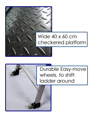 Warehouse Platform Ladder With Wheels 150kg Rating