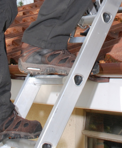 Man Climbing 2 Section Extension Ladder