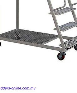 Platform Trolley Ladder 150kg rating Malaysia wheels close up