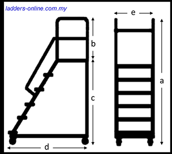 Platform Trolley Ladder 150kg diagram dimension