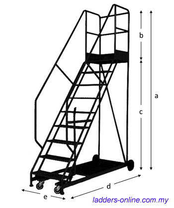 P0720 Platform ladder trolley dimension Malaysia