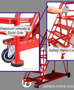 platform trolley ladder industrial features, wheels, and grating steps